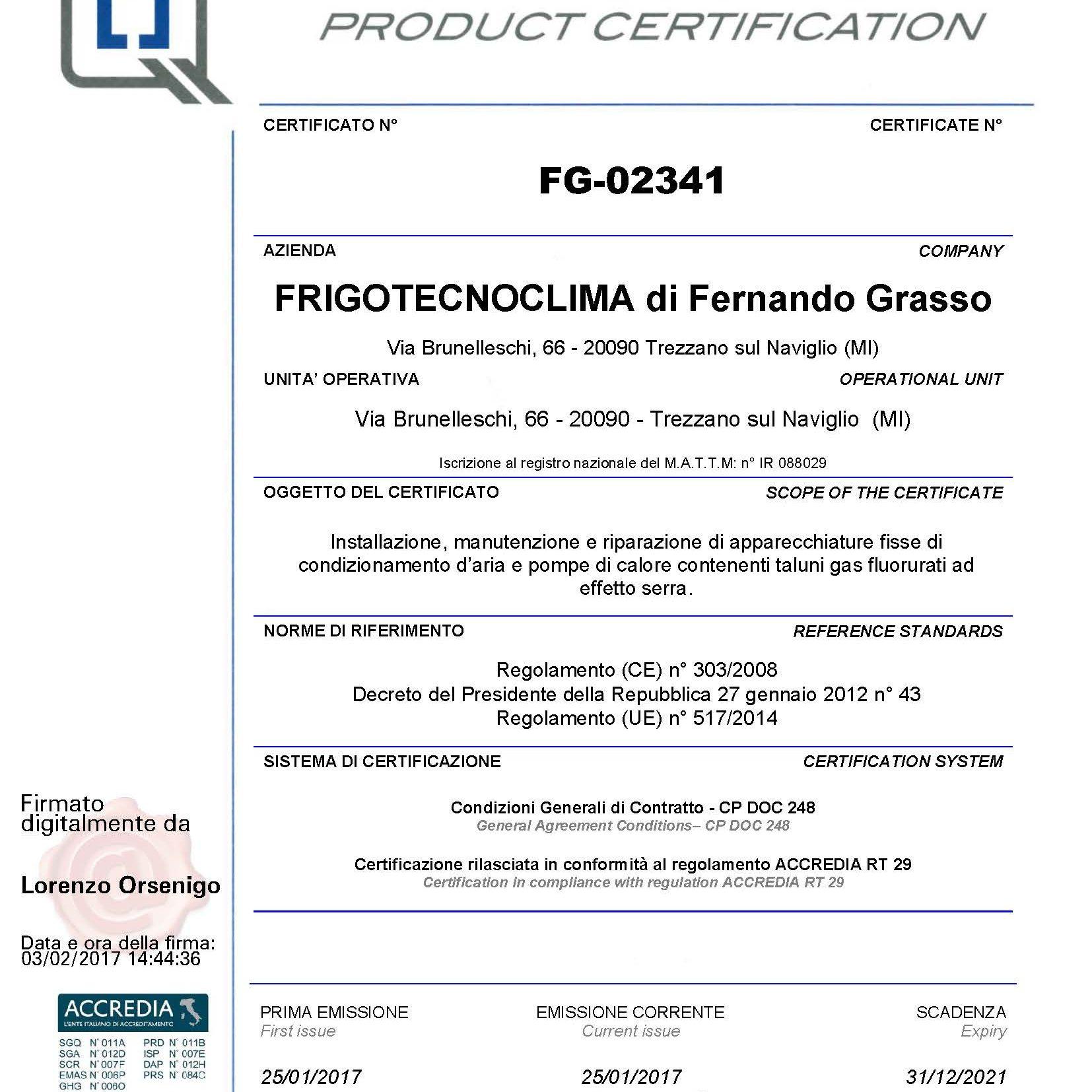 certificato-prodotto-frigotecnoclima